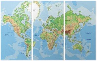 Tryptyk Bardzo szczegółowe mapa fizyczna świata z etykietowania.
