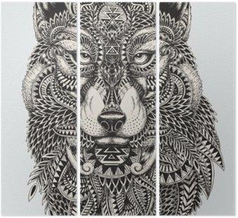 Tryptyk Bardzo szczegółowe streszczenie ilustracji wilka