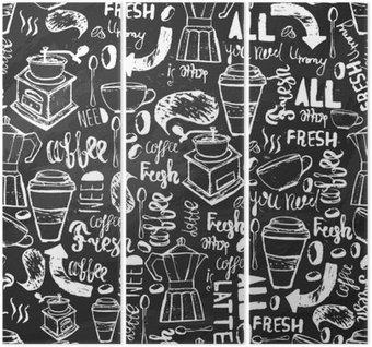Bez szwu ręcznie rysowane kawy bez szwu. wzór Kawa z napisami. Vector kawy wzór na ciemnym tle do owijania, banery.