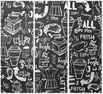 Tryptyk Bez szwu ręcznie rysowane kawy bez szwu. wzór Kawa z napisami. Vector kawy wzór na ciemnym tle do owijania, banery.