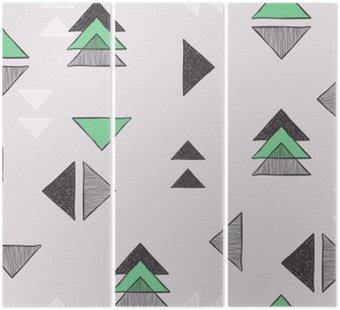 Tryptyk Bez szwu ręcznie rysowane trójkąty wzór.