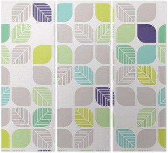 Tryptyk Bezproblemowa geometryczny wzór z liści