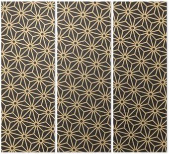 Tryptyk Bezproblemowa zabytkowe paletę czerni i złota przekątnej japoński asanoha wektor wzór