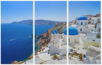 Tryptyk Biała architektura Oia wsi na wyspie Santorini, Grecja