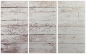Tryptyk Białe deski drewniane z tekstury jako tła