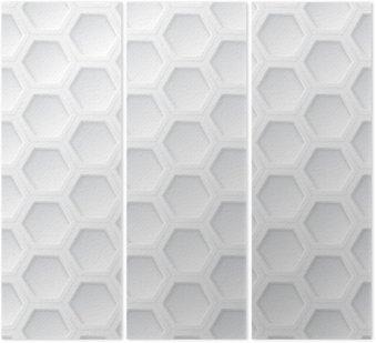 Tryptyk Biały 3d sześciokąt bez szwu wzór