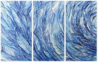 Tryptyk blue feathers in a circle, watercolor abstract background