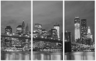 Tryptyk Brooklyn Bridge i Manhattan Skyline w nocy, New York City