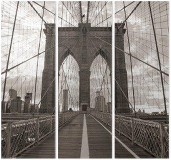 Tryptyk Brooklyn Bridge w Nowym Jorku. sepię.