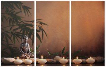Tryptyk Budda z świec i bambusa