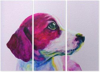 Tryptyk Buddy Portret młodego psa, szczeniaka w neonowych kolorach. Patrząc i tęsknota za uwagę