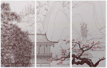 Tryptyk Chiński krajobraz