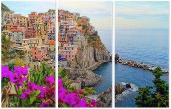 Tryptyk Cinque Terre wybrzeża Włoch z kwiatami