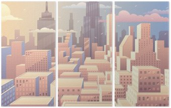 Tryptyk Cityscape słońca