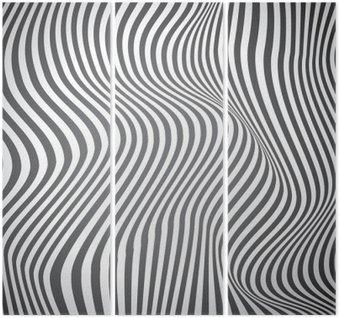 Tryptyk Czarno-białe zakrzywione linie, fale powierzchniowe, vector design