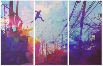 Tryptyk Człowiek skoków na dachu w mieście z abstrakcyjnego grunge, ilustracja malarstwo