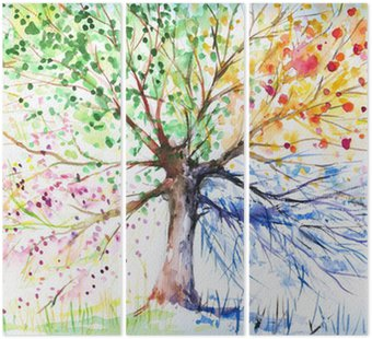 Tryptyk Cztery pory roku drzewo