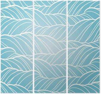 Tryptyk Fala bez szwu abstrakcyjne ręcznie rysowane wzór.