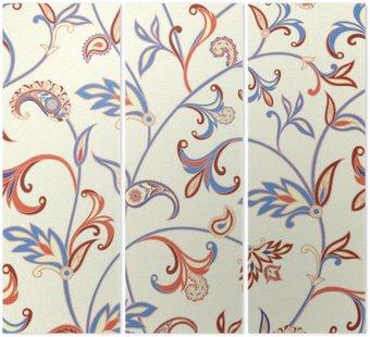 Tryptyk Floral szwu. Kwiat tła wirować. Arabski ornament z fantastycznych kwiatów i liści.