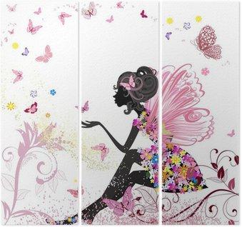 Tryptyk Flower Fairy w otoczeniu motyli