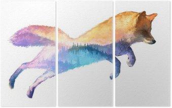 Tryptyk Fox podwójna ekspozycja ilustracji