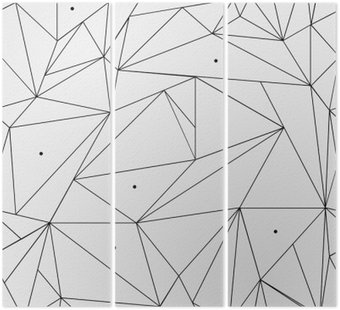 Tryptyk Geometryczne proste czarno-białe minimalistyczny wzór, trójkąty lub witraż. Może być używany jako tapeta, tło lub tekstury.
