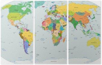 Tryptyk Globalnej mapie politycznej świata, wektor