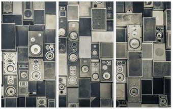Tryptyk Głośniki Muzyka na ścianie w monochromatycznym stylu vintage