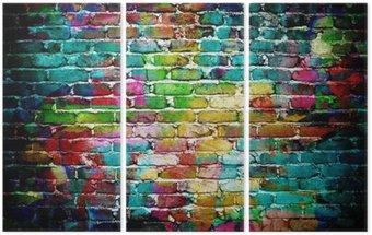 Tryptyk Graffiti mur ceglany