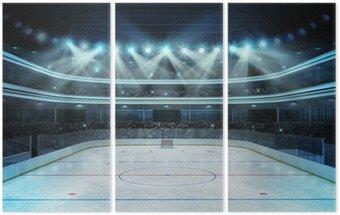 Tryptyk Hokej na stadion z widzów i pusty lodowisko