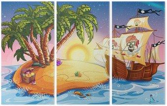 Tryptyk Ilustracja z wyspy skarbów i statek piracki