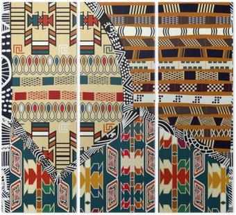 Tryptyk Indian plemiennych kolorowych ilustracji bez szwu pattern.Vector