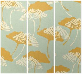 Tryptyk Japoński styl Ginkgo biloba pozostawia bez szwu dachówka w złoto i jasnoniebieskim kolorze palety