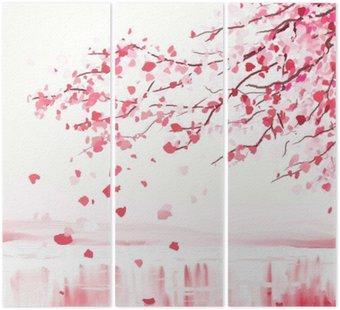 Tryptyk Japoński wiśniowe drzewo