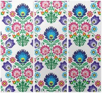 Jednolite polski, słowiański folk art kwiatowy wzór - wzory łowickie