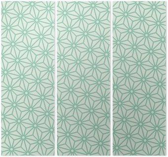 Tryptyk Jednolite turkusowe przekątnej japoński asanoha wektor wzór