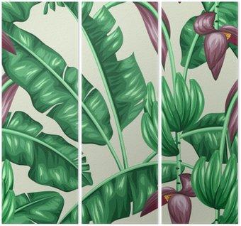 Tryptyk Jednolite wzór z liści bananowca. Obraz dekoracyjne tropikalnych liści, kwiatów i owoców. Tło wykonane bez wycinek maska. Łatwy w obsłudze dla tło, tekstylia, papier pakowy