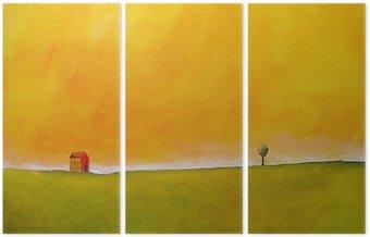 Tryptyk Jest to malarstwo abstrakcyjne sceny rolniczych