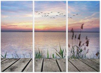 Tryptyk Jezioro chmury kolory
