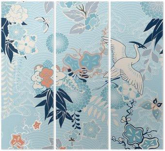 Tryptyk Kimono z dźwigiem w tle i kwiatami