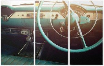 Tryptyk Klasyczny samochód - pojazd wnętrze rocznika