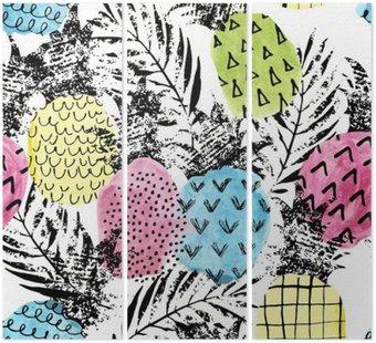 Tryptyk Kolorowe ananas z akwareli i tekstur grunge szwu