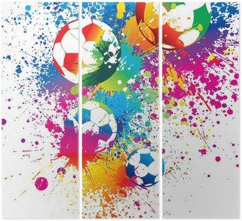 Tryptyk Kolorowe piłki na białym tle