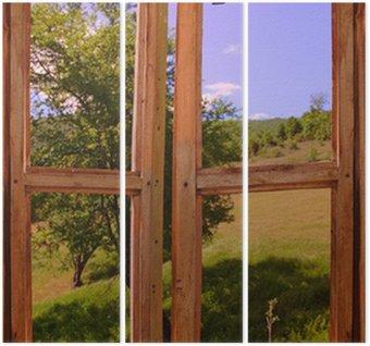 Tryptyk Krajobraz, widok przez okno