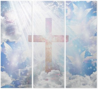 Tryptyk Krzyż i anielskie postacie