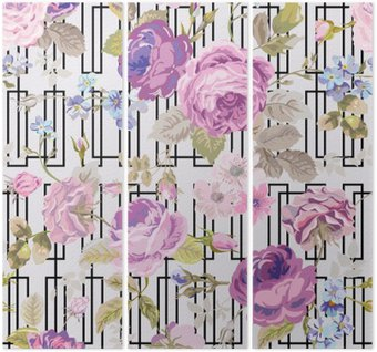 Tryptyk Kwiaty Geometria Background - Seamless Floral Shabby Chic