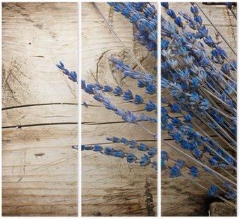 Tryptyk Lavender nad background.with drewna kopii przestrzeń