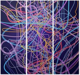 Tryptyk Linie neonowe, abstrakcyjnych kompozycji, jasnym tle, plątanina kolorowych linii, wektor sztuki projektowania