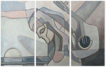 Tryptyk Malarstwo abstrakcyjne z kobietą i Gitary