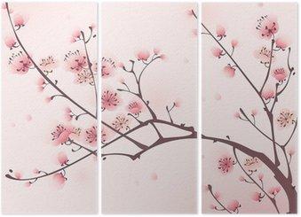 Tryptyk Malarstwo styl orientalny, kwiat wiśni wiosną